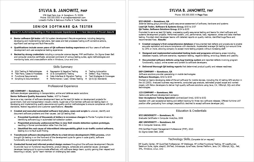 experienced qa software tester resume sample basic templates writing tips for embedded Resume Sample Resume For Experienced Embedded Tester
