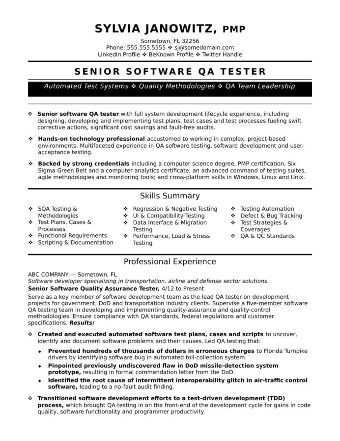 experienced qa software tester resume sample monster automation biotech fresher beekeeper Resume Automation Tester Resume