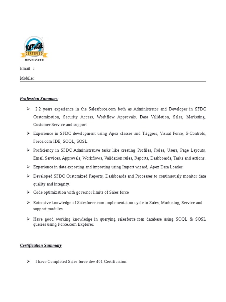 experienced salesforce developer resume software experience format email indeed about Resume Salesforce Experience Resume Format