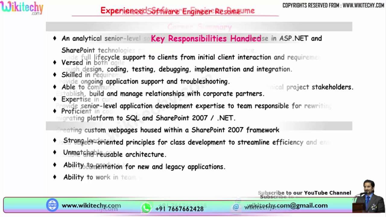 experienced software engineer resume format for preparation after maternity leave Resume Resume Preparation For Experienced Software Engineer