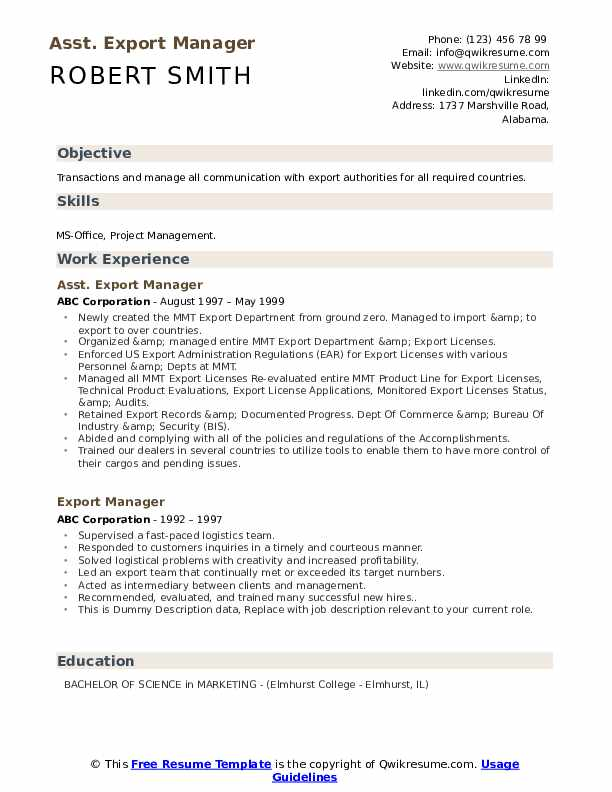 export manager resume samples qwikresume import format pdf if you didn finish college Resume Export Import Resume Format