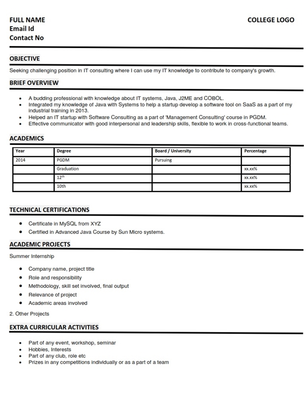 extracurricular activities in resume for freshers sample best examples it fresher Resume Activities For Resume For Freshers