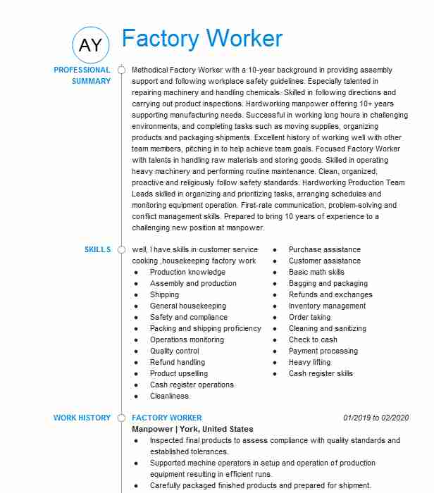 factory worker resume example taiwan caloocan city masbate objective for plant putting Resume Resume Objective For Plant Worker