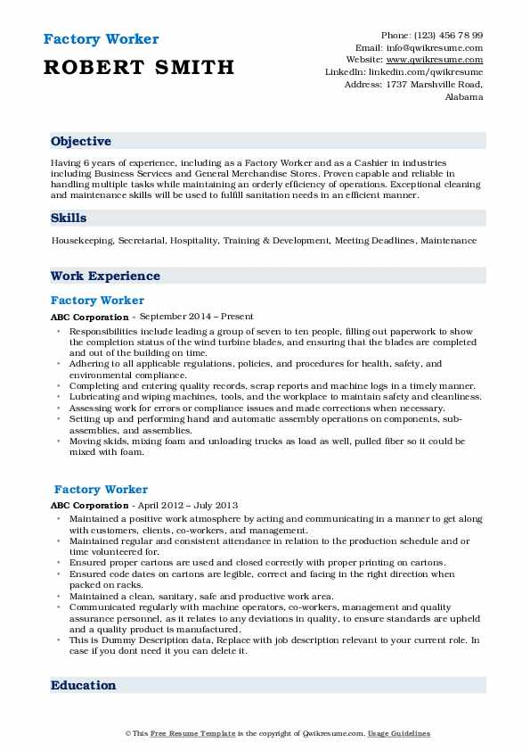 factory worker resume samples qwikresume objective for plant pdf summary student Resume Resume Objective For Plant Worker
