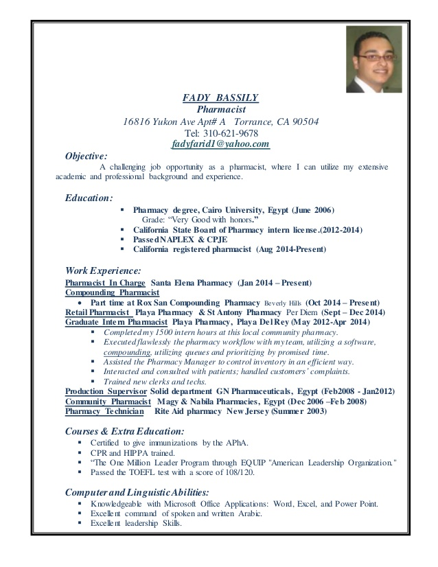 fady pharmacist resume community general office administration physical education sample Resume Community Pharmacist Resume