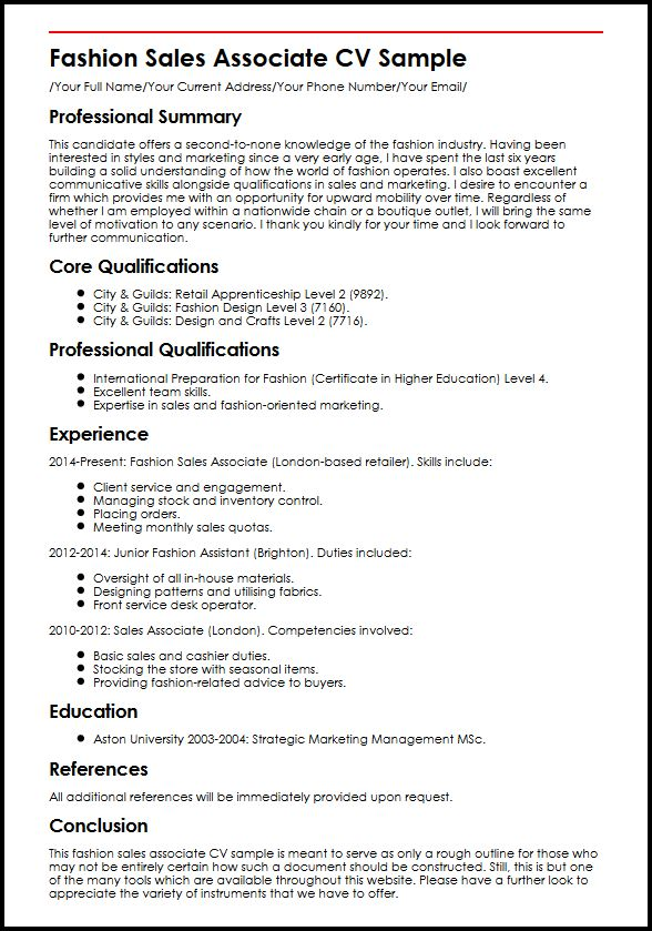 fashion associate cv example myperfectcv retail job duties for resume sample excel Resume Retail Job Duties For Resume