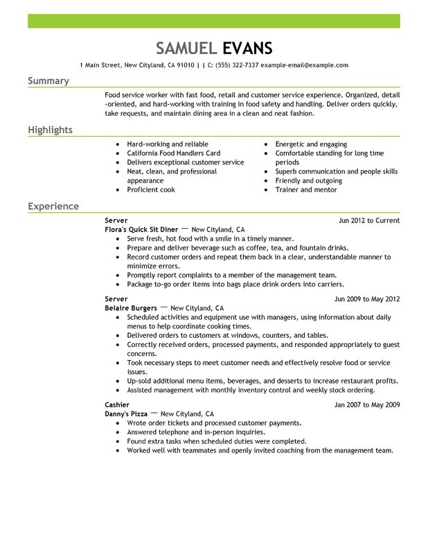 fast food server resume examples free to try today myperfectresume experience and Resume Server Experience Resume Examples