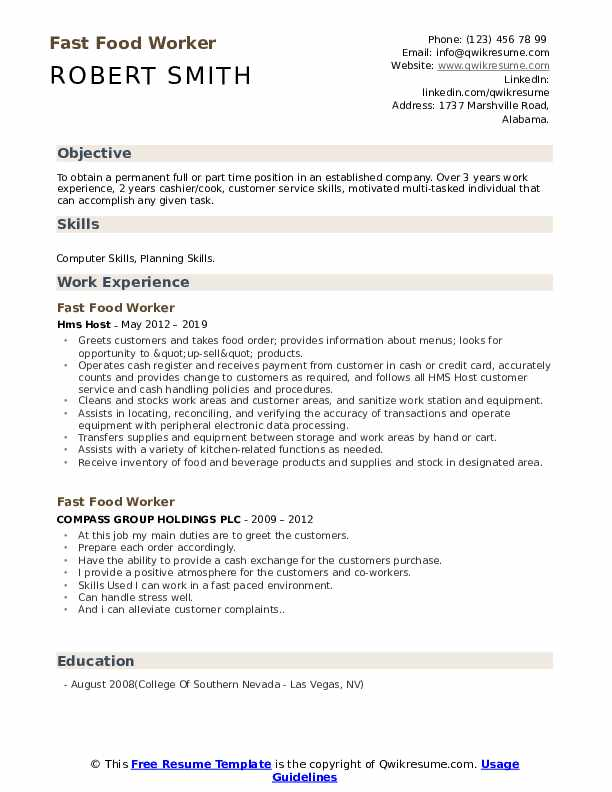fast food worker resume samples qwikresume skills pdf safety professional template Resume Fast Food Worker Resume Skills