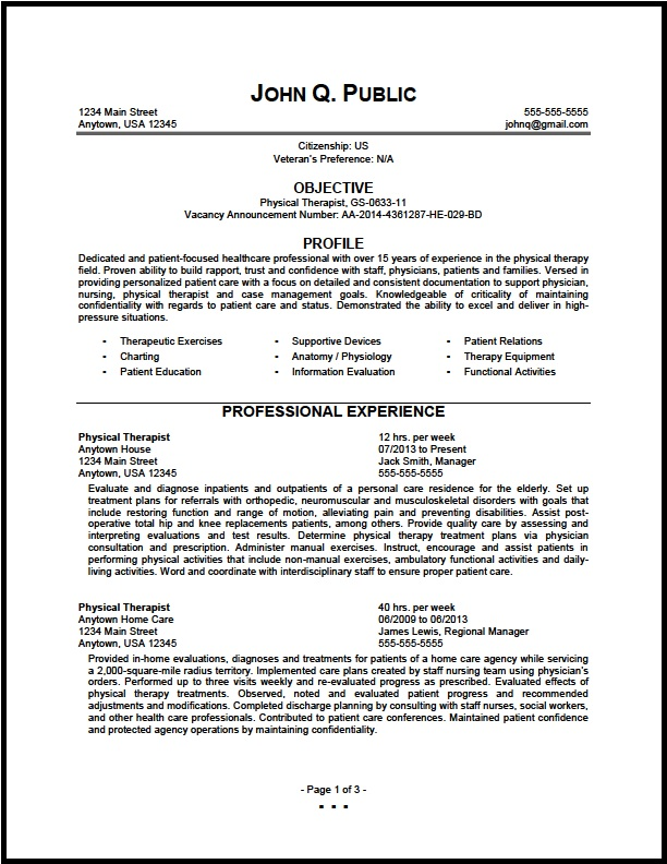federal physical therapist resume sample the clinic patient transporter highlight skills Resume Physical Therapist Resume