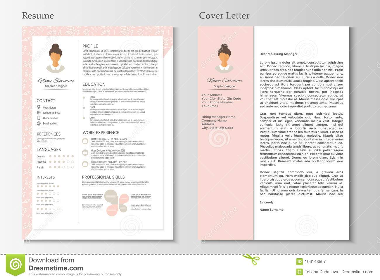 feminine resume and cover letter with infographic design stock vector illustration of Resume Unique Resume Cover Letter