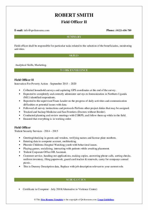 field officer resume samples qwikresume security pdf template for fresh graduate without Resume Security Field Officer Resume
