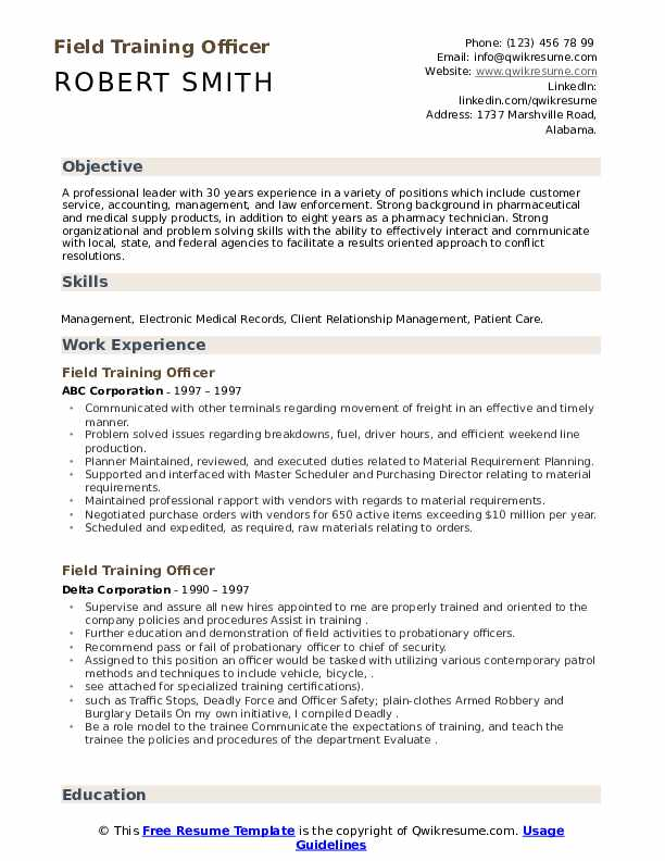 field training officer resume samples qwikresume security pdf template for fresh graduate Resume Security Field Officer Resume