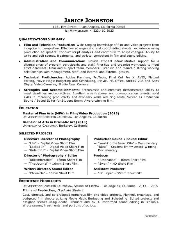 film production resume sample monster industry format student for modeling and acting Resume Film Industry Resume Format