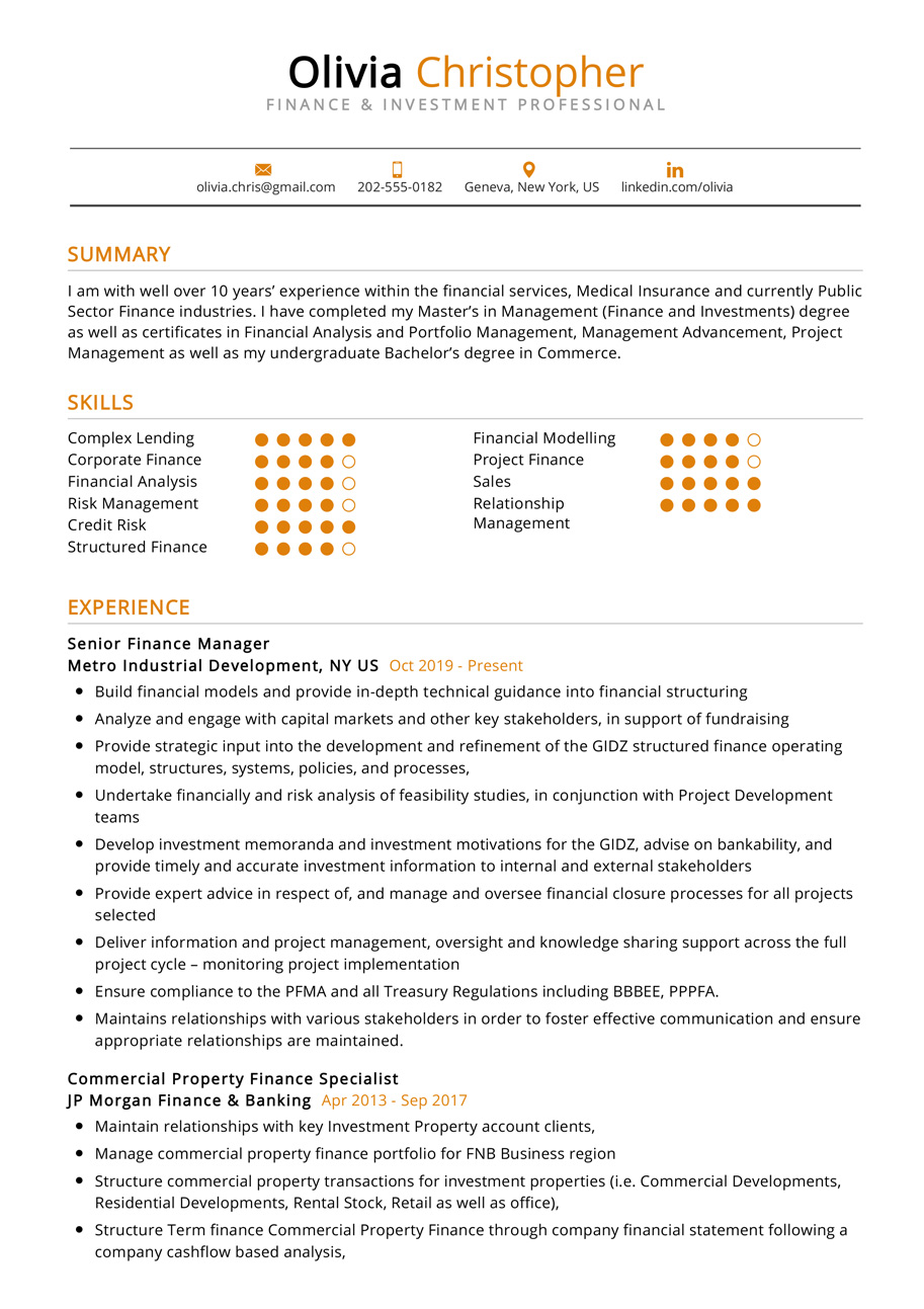 finance investment resume example cv sample resumekraft financial specialist and Resume Financial Specialist Resume