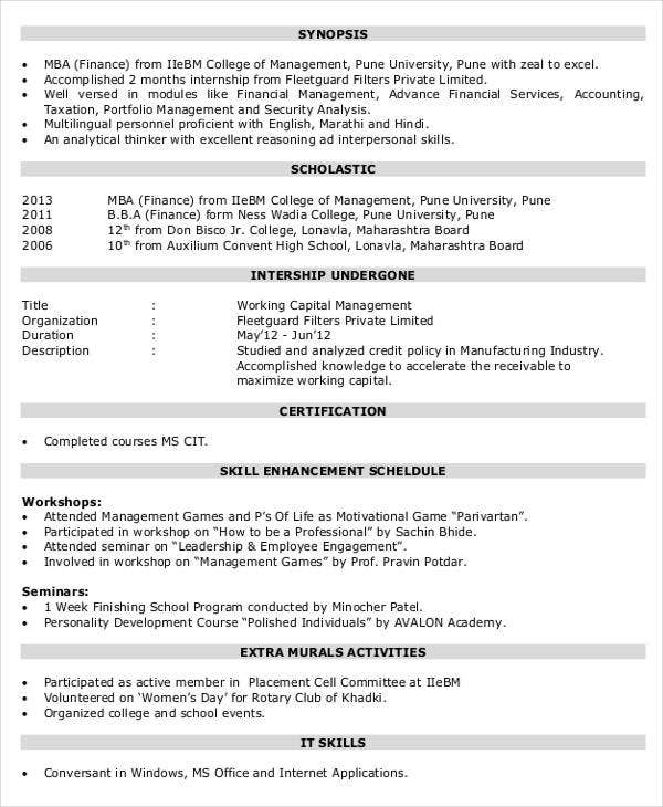 finance resume templates pdf free premium format for mba experienced corporate profile Resume Resume Format For Mba Finance Experienced
