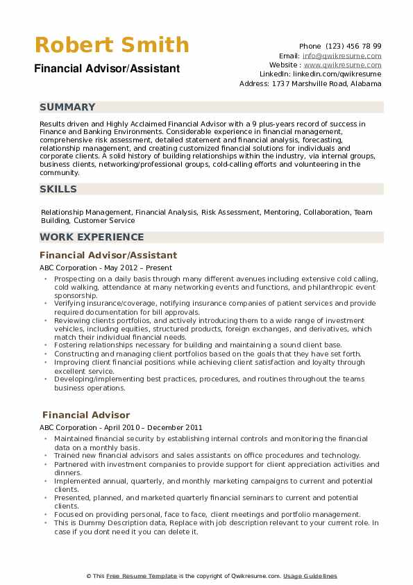 financial advisor resume samples qwikresume planner pdf bld charge cancel company Resume Financial Planner Resume