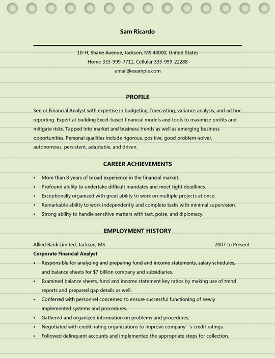financial analyst resume examples ms word format senior sample acting template with Resume Senior Financial Analyst Resume Sample