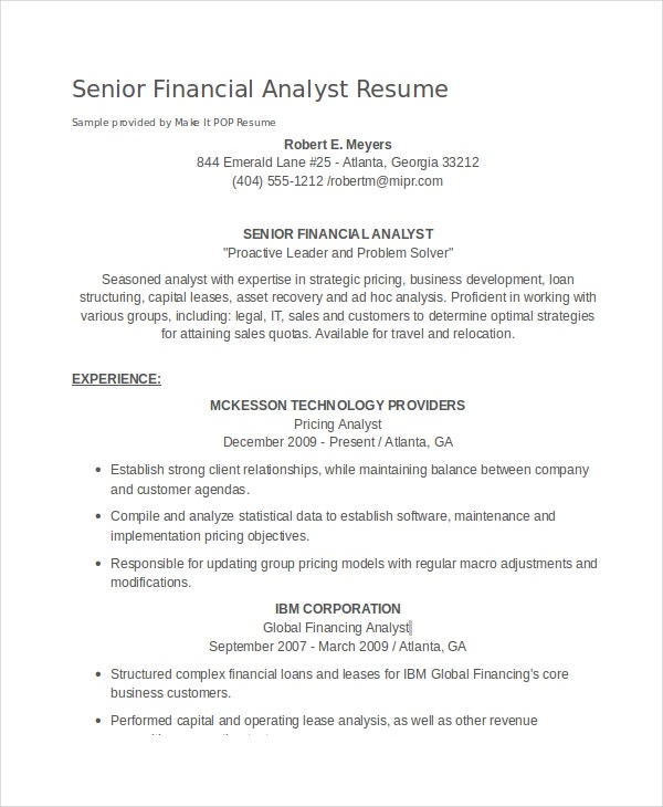 financial analyst resume pdf word documents free premium templates sample fresh graduate Resume Financial Analyst Resume Sample Fresh Graduate