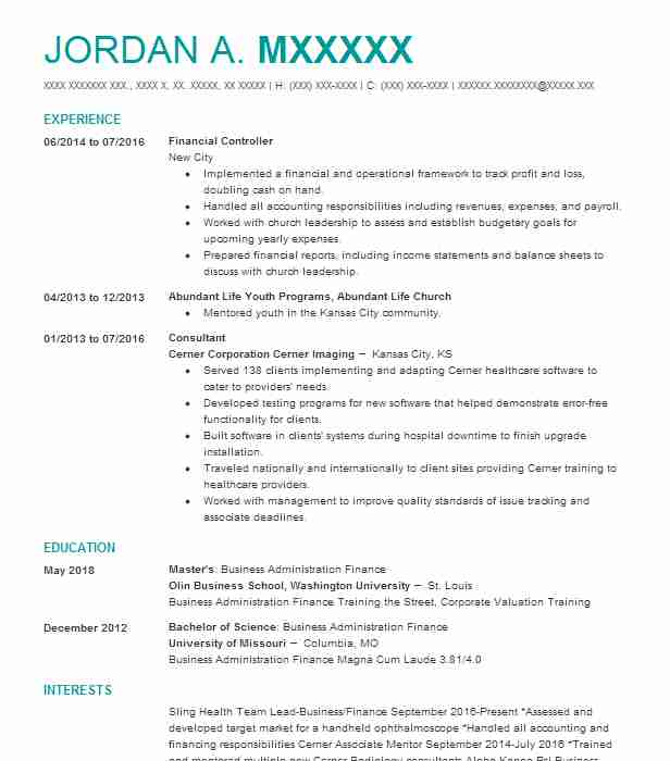 financial controller resume example accountant resumes livecareer examples waiting tables Resume Controller Resume Examples