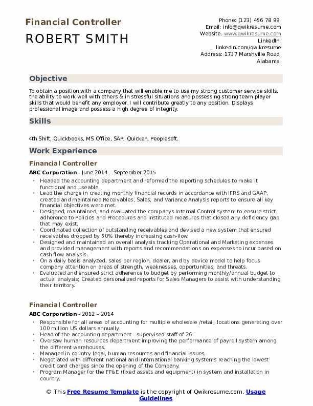 financial controller resume samples qwikresume examples pdf ts elevator pitch biomedical Resume Controller Resume Examples