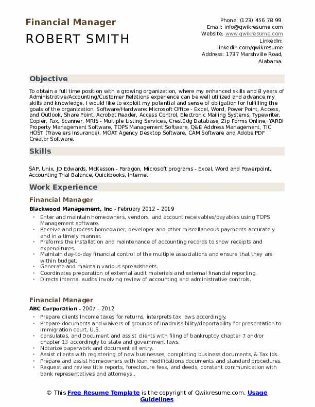 financial manager resume samples qwikresume format for mba finance experienced pdf Resume Resume Format For Mba Finance Experienced