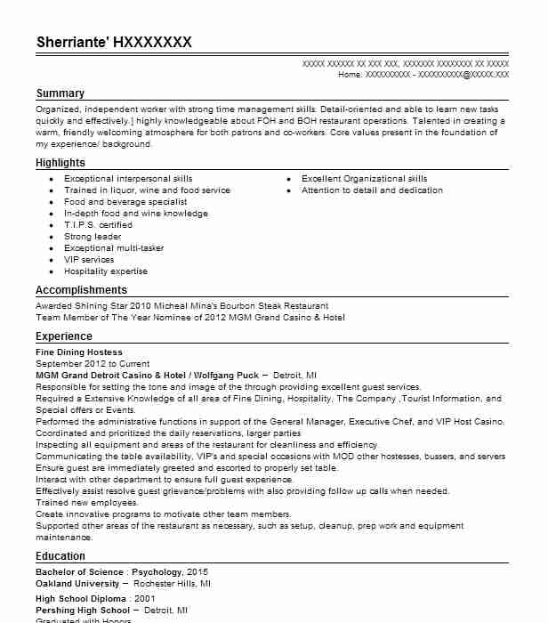 fine dining hostess resume example resumes livecareer description animation format for Resume Hostess Resume Description