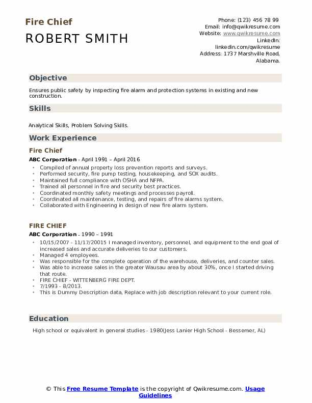 fire chief resume samples qwikresume objective pdf types of experience for sap bods best Resume Fire Chief Resume Objective