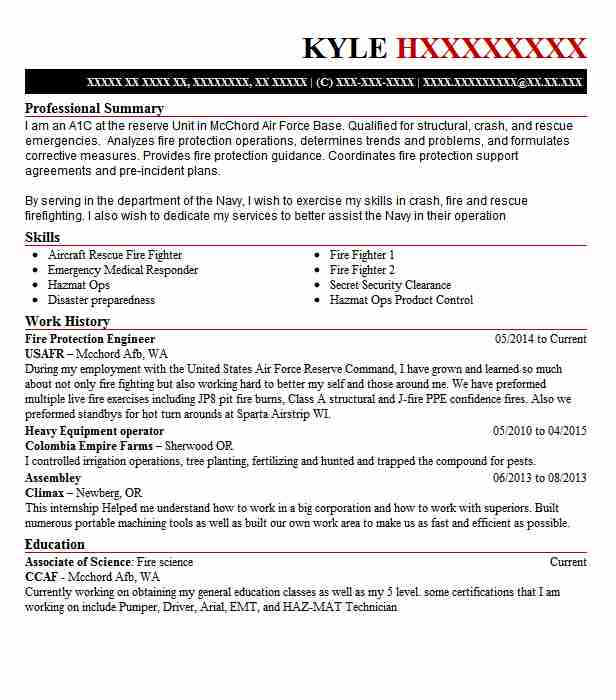 fire protection engineer resume example livecareer reddit template software section Resume Fire Protection Engineer Resume