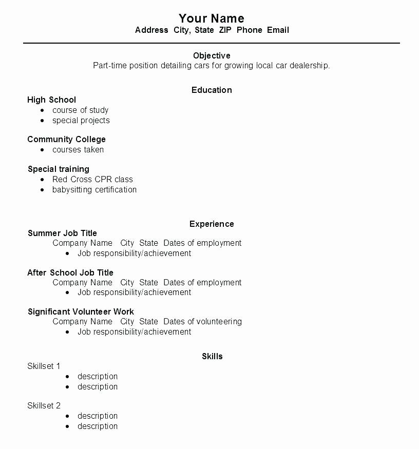 first time resume template awesome work for high school student wikirian in job samples Resume First Time Job Resume For High School Student