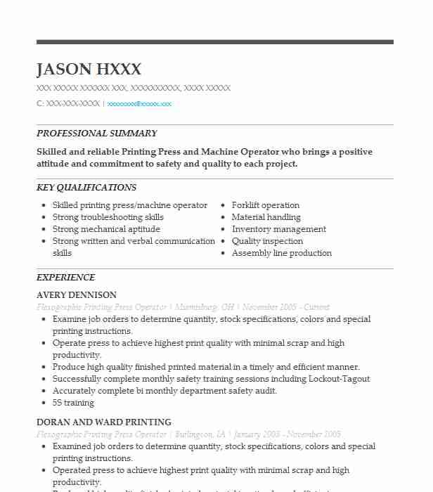 flexographic printing press operator resume example label southside sample software Resume Press Operator Resume Sample