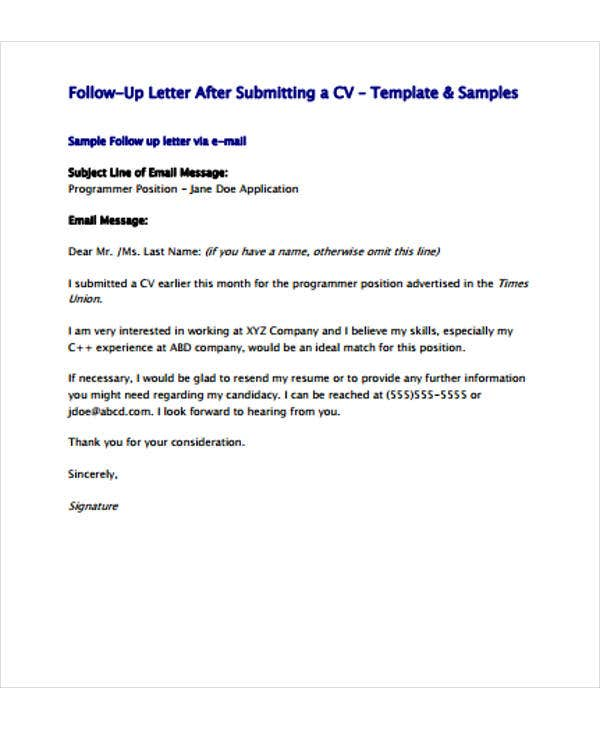 follow up letter template free sample example format premium templates email after Resume Follow Up Email After Submitting Resume Example