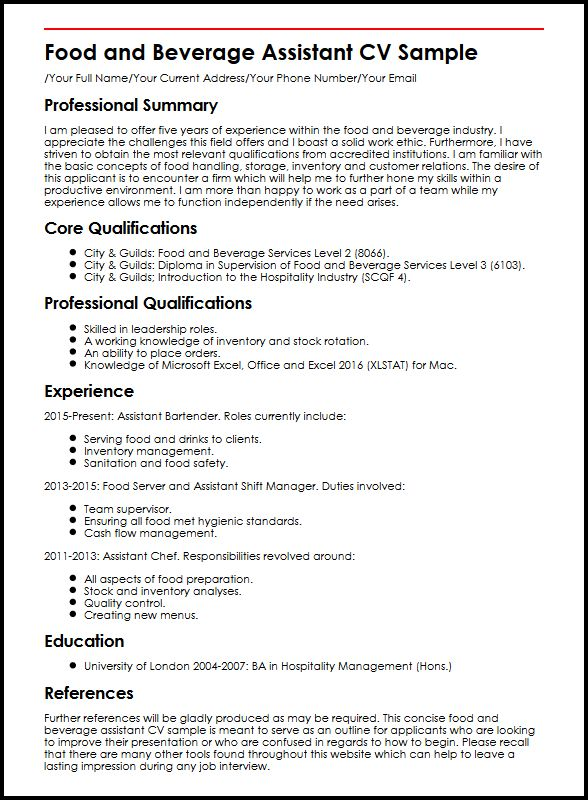 food and beverage assistant cv example myperfectcv summary for resume service sample Resume Summary For Resume For Food Service