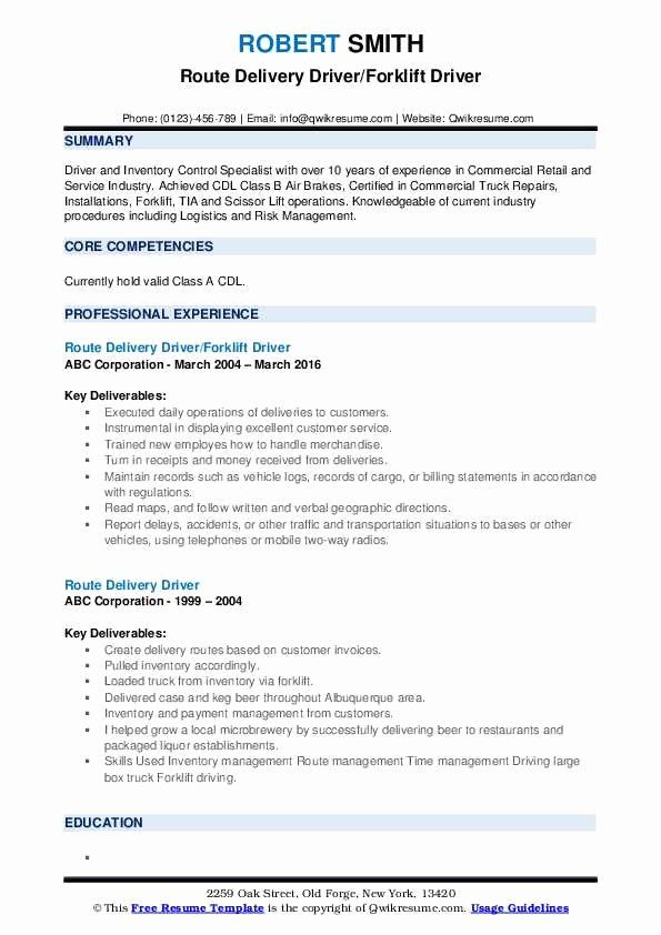 food delivery driver resume beautiful route samples in writing cover letter sample entry Resume Route Driver Resume Sample