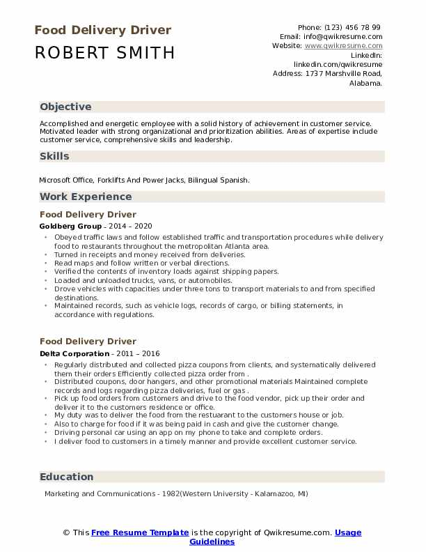 food delivery driver resume samples qwikresume route sample pdf free indesign template Resume Route Driver Resume Sample