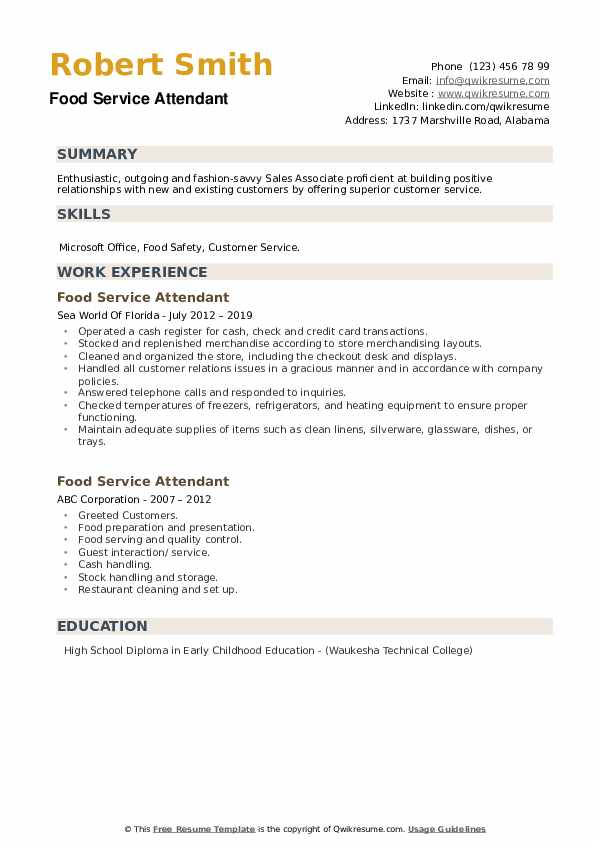 food service attendant resume samples qwikresume summary for pdf special education Resume Summary For Resume For Food Service