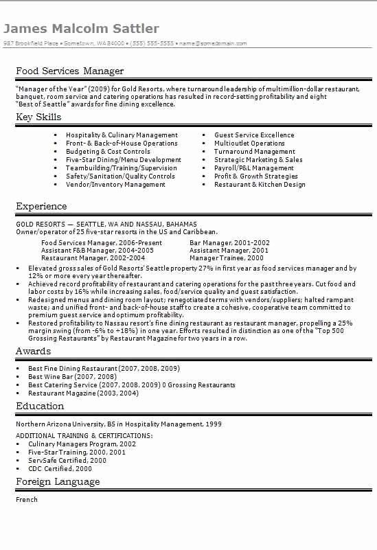 food service manager resume lovely services cv résumé example template master examples Resume Food Service Manager Resume