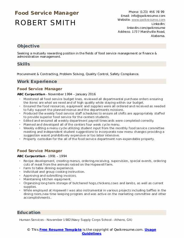 food service manager resume samples qwikresume pdf security summary for dos and don ts Resume Food Service Manager Resume
