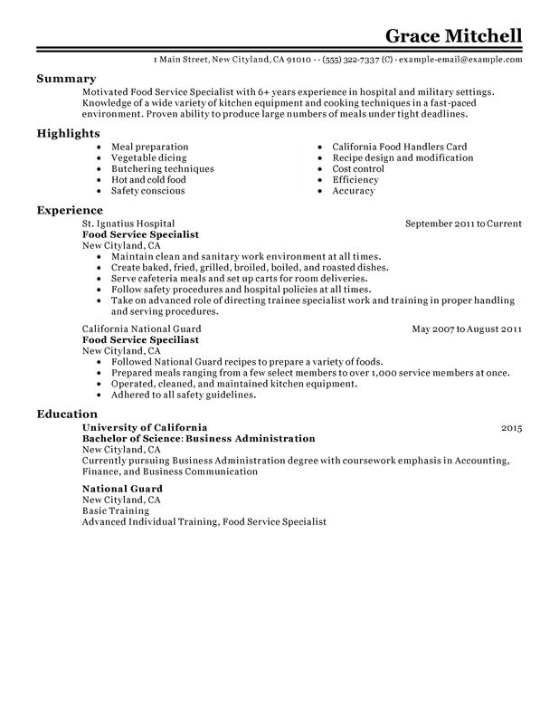 food service specialist resume examples created by pros myperfectresume summary for Resume Summary For Resume For Food Service