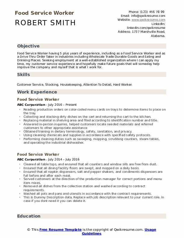 food service worker resume samples qwikresume summary for pdf landscaping examples Resume Summary For Resume For Food Service