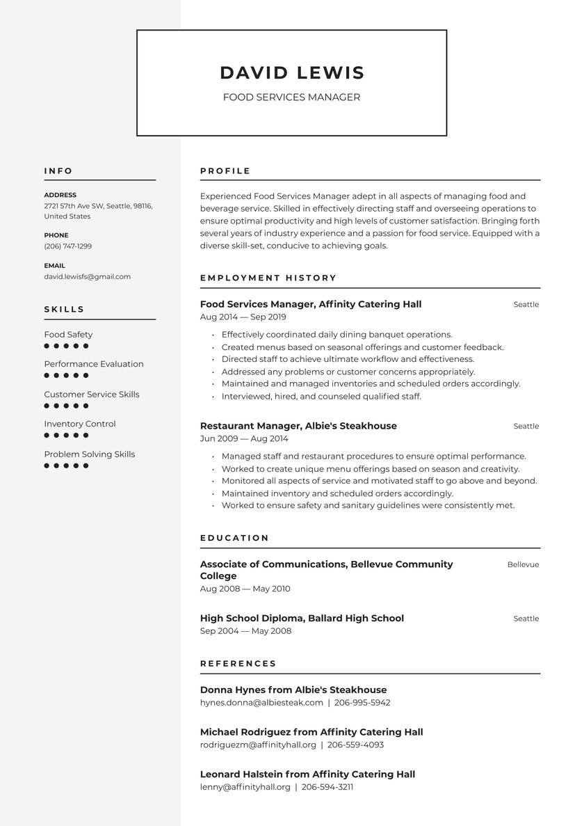 food services manager resume examples writing tips free guide io service mental health Resume Food Service Manager Resume