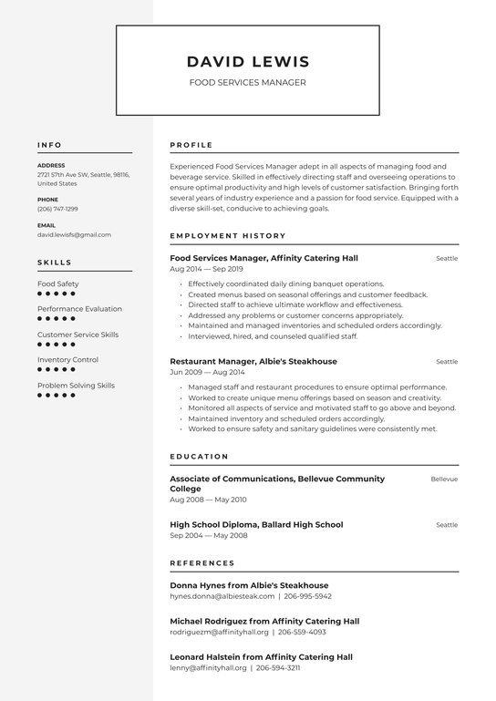 food services manager resume examples writing tips free guide io summary for service ot Resume Summary For Resume For Food Service