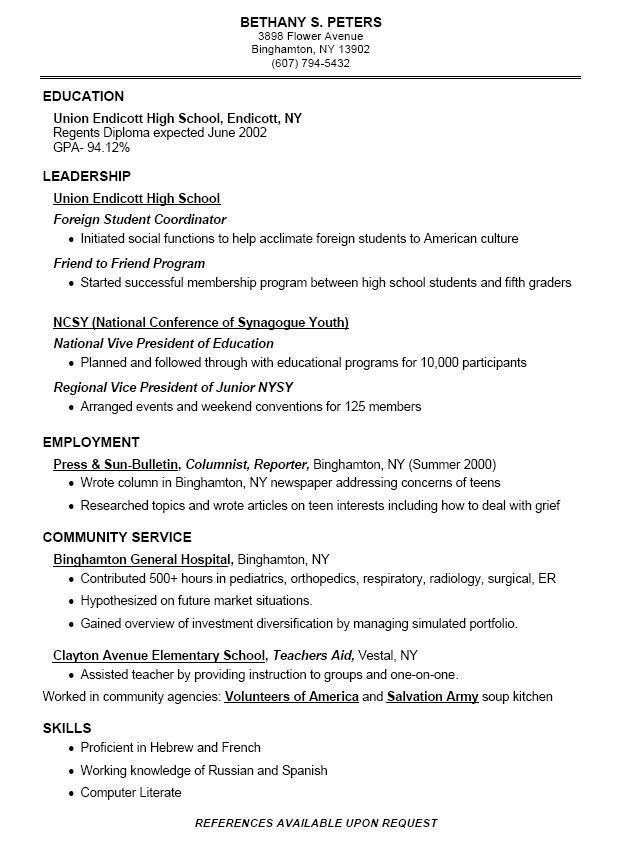 for good high school resume format schooler student chef sample excited synonym coo Resume High Schooler High School Student Resume