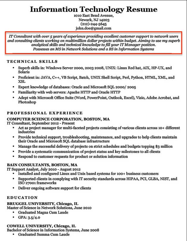 for resume objective it format information technology objectives and goals military Resume Information Technology Objectives And Goals Resume
