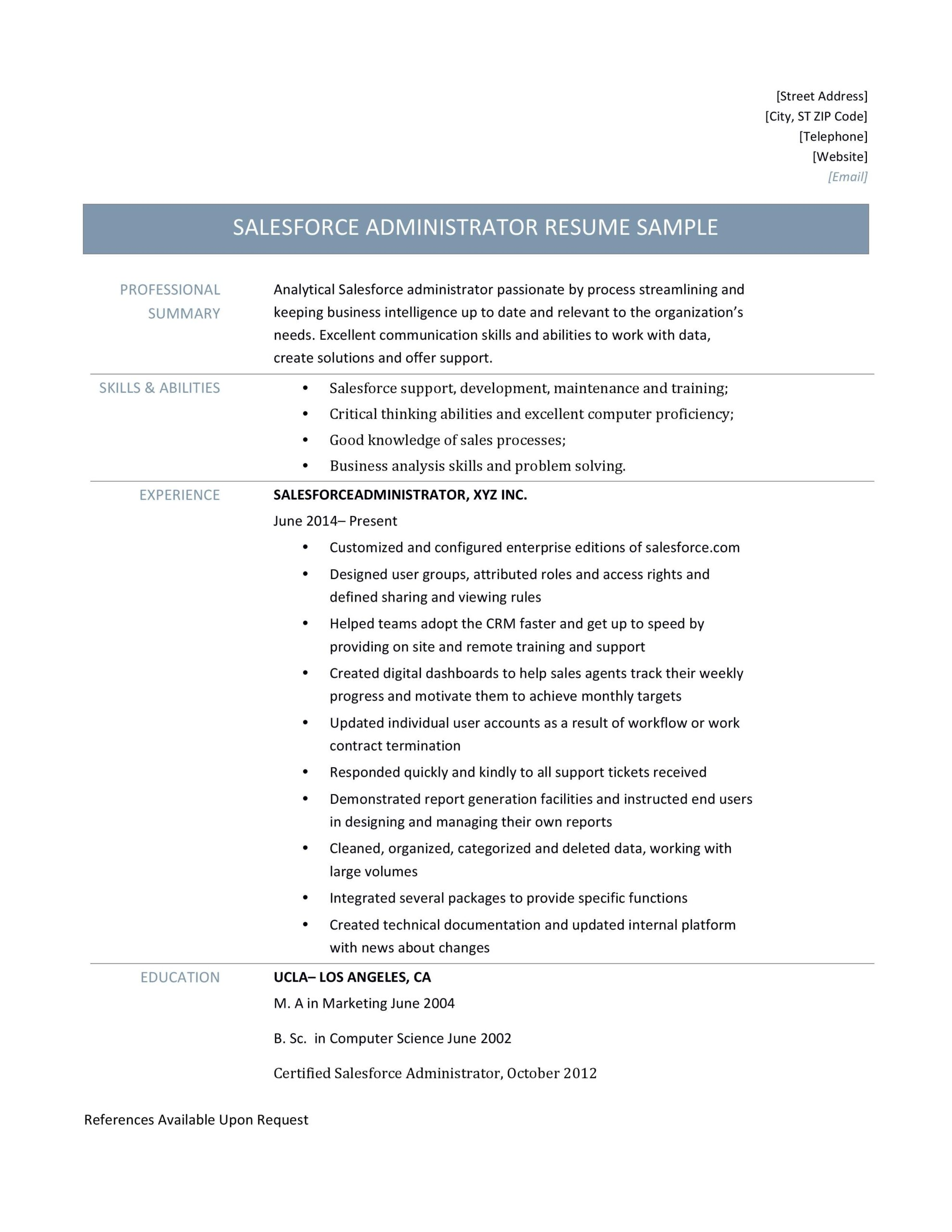 force administrator resume template salesforce administration experience format home Resume Salesforce Experience Resume Format