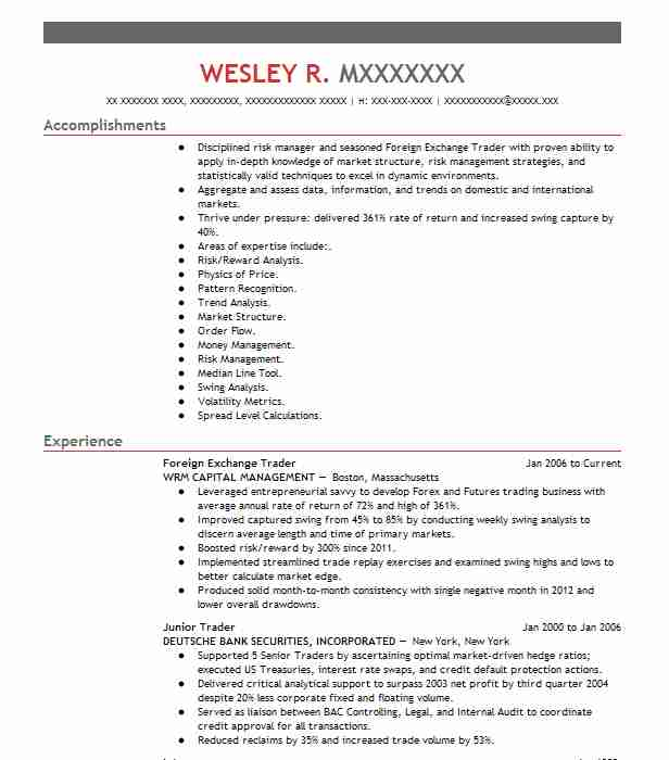foreign exchange trader resume example livecareer consultant free template data entry Resume Foreign Exchange Consultant Resume