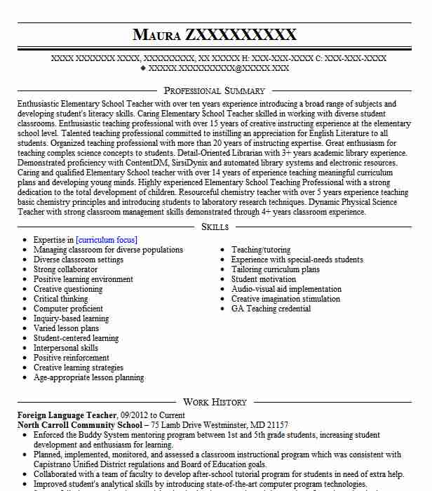 foreign language teacher resume example livecareer government accountant emt objective Resume Foreign Language Teacher Resume