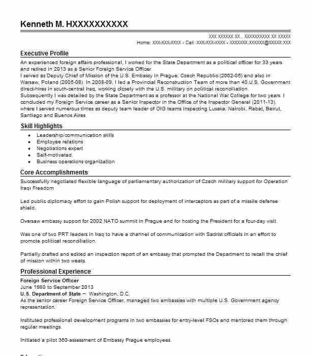 foreign service officer resume example livecareer for overseas employment monster free Resume Resume For Overseas Employment