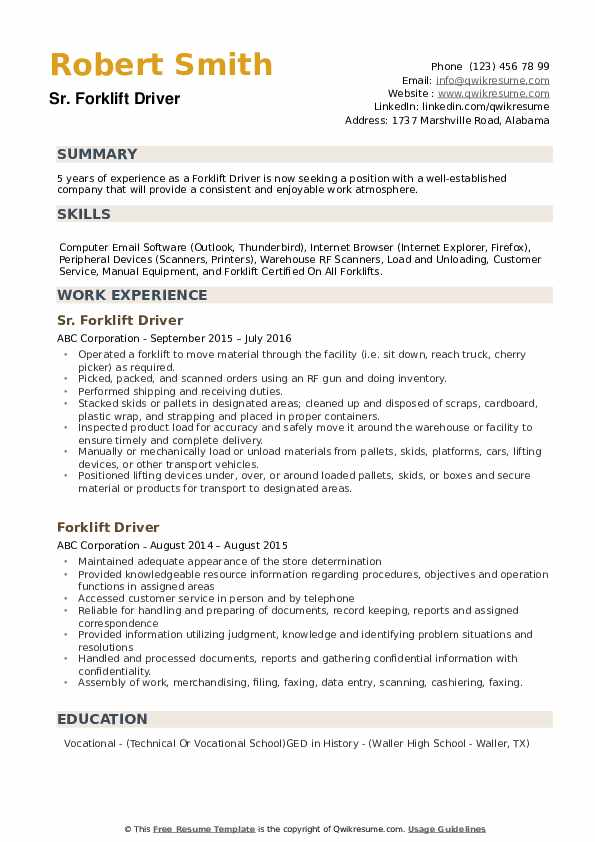 forklift driver resume samples qwikresume template example pdf accounts payable chemical Resume Forklift Driver Resume Template Example