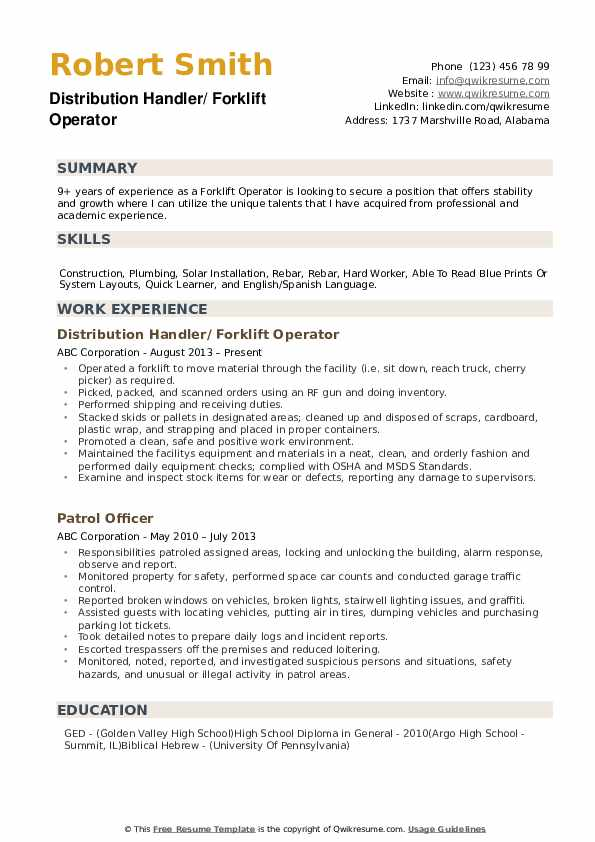 forklift operator resume samples qwikresume driver template example pdf professional Resume Forklift Driver Resume Template Example
