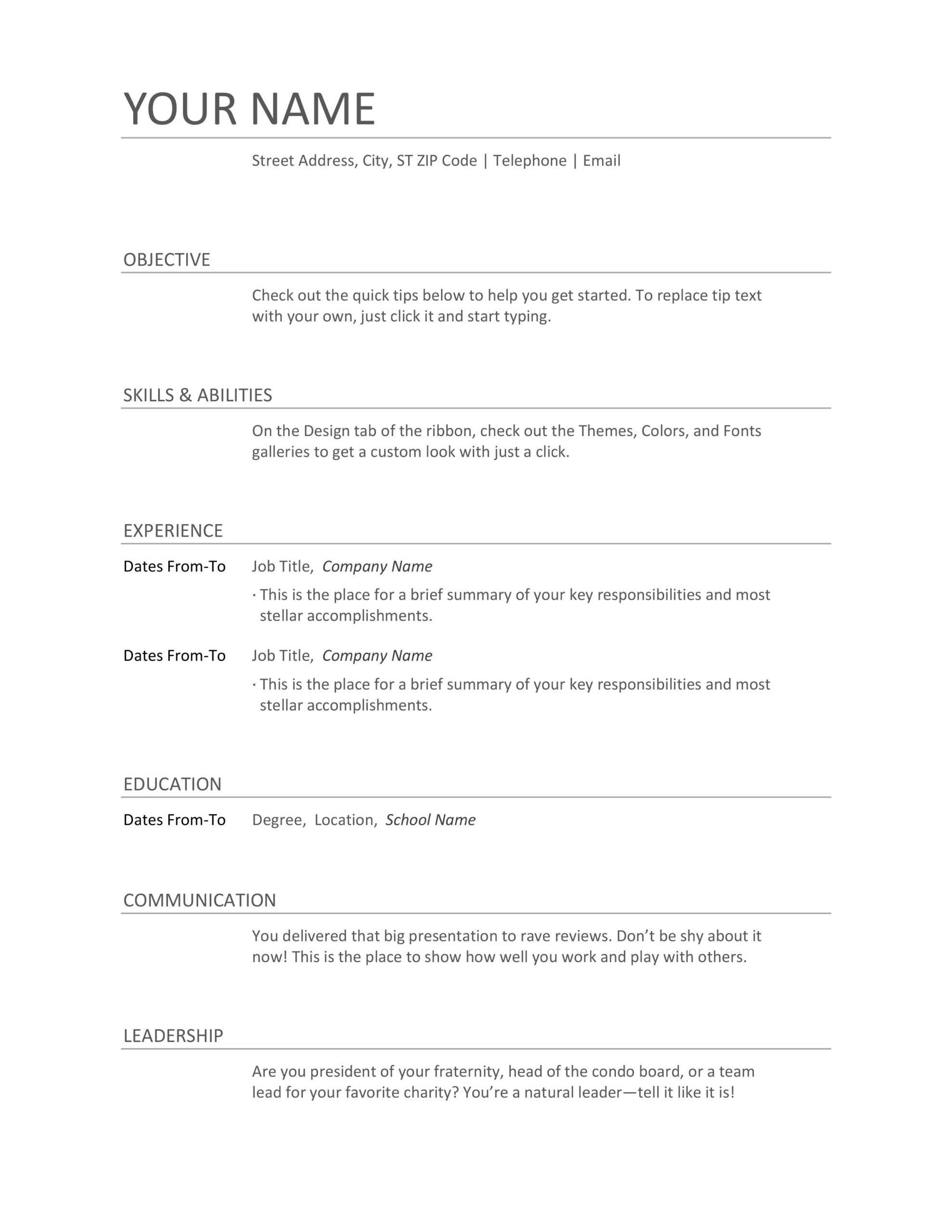 formats of resume examples and sample for freshers structure writing combination director Resume Structure Of Resume Writing